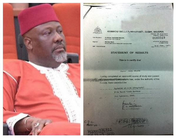 Image result for Dino Melaye's ABU Statement Of Results