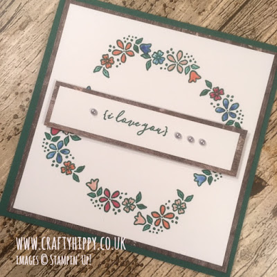 Handmade floral wreath card stamped and coloured using the P.S. You're The Best stamp set by Stampin' Up!