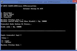 Program Java Membuat Virtual Transaksi ATM di Notepad ++