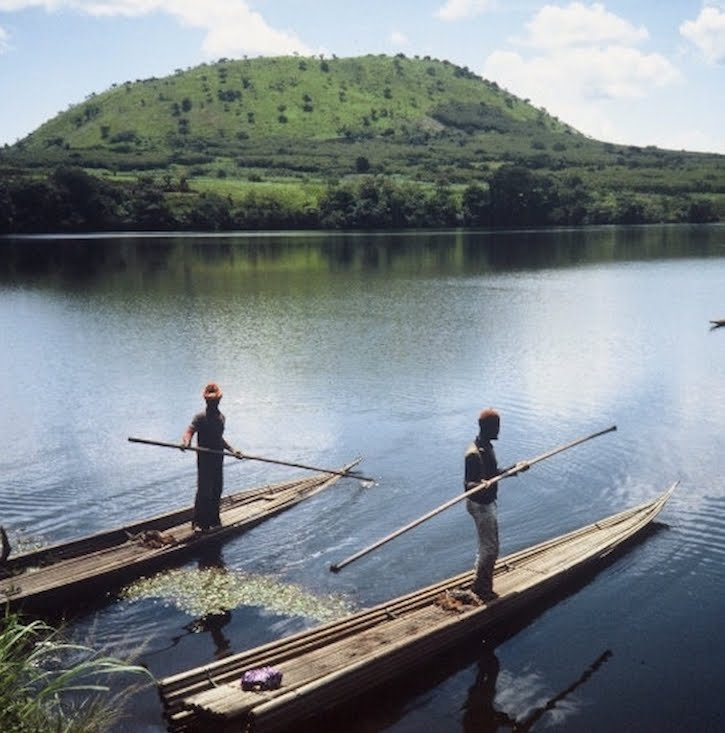 Two men on Lake Nyos Cameroon by Bill Evans, USGS. Public domain .jpg