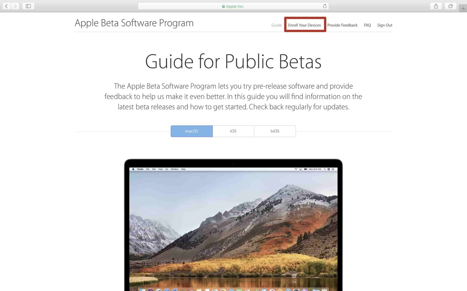 In order to download and install a new macOS High Sierra Public beta on your Mac, you need to register your account for public beta program.