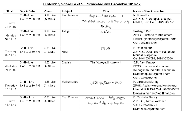 MANA TV, Bi monthly Schedule for November& December.