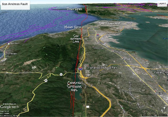 Google Earth image with USGS fault location and annotations by RocDocTravel.com