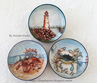 Pintura marinha em porcelana