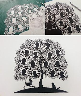 árbol genealógico con corte de papel totalmente a mano