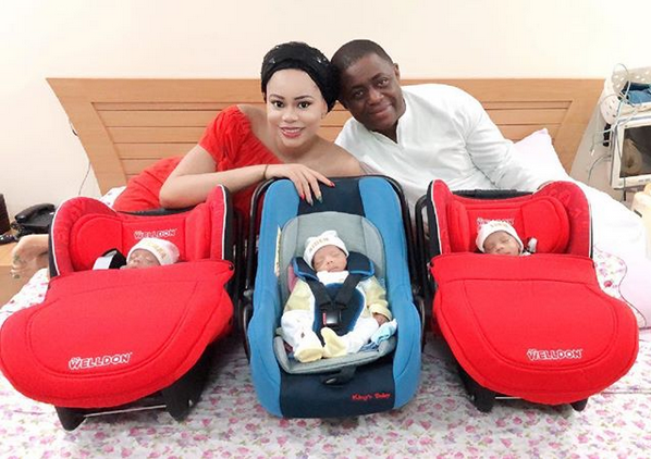 Fani-Kayode & Wife Share First Photos Of Their Triplets