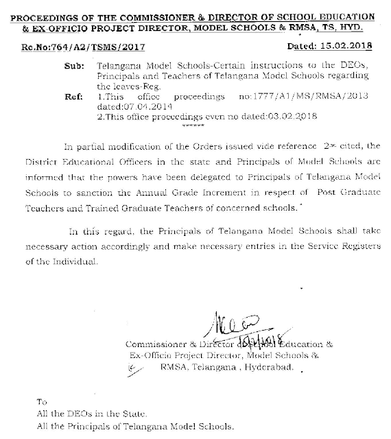 Rc No 764 - Certain instructions to the DEOs,Principals and Teachers of TS Model Schools regarding the Leaves