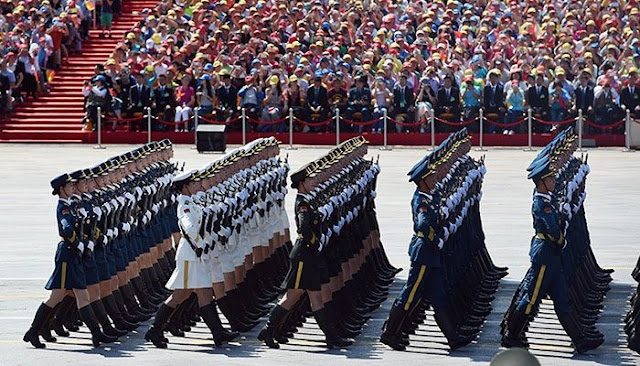 Chinese soldiers march in a military parade at Tiananmen Square. Photo: AFP/File