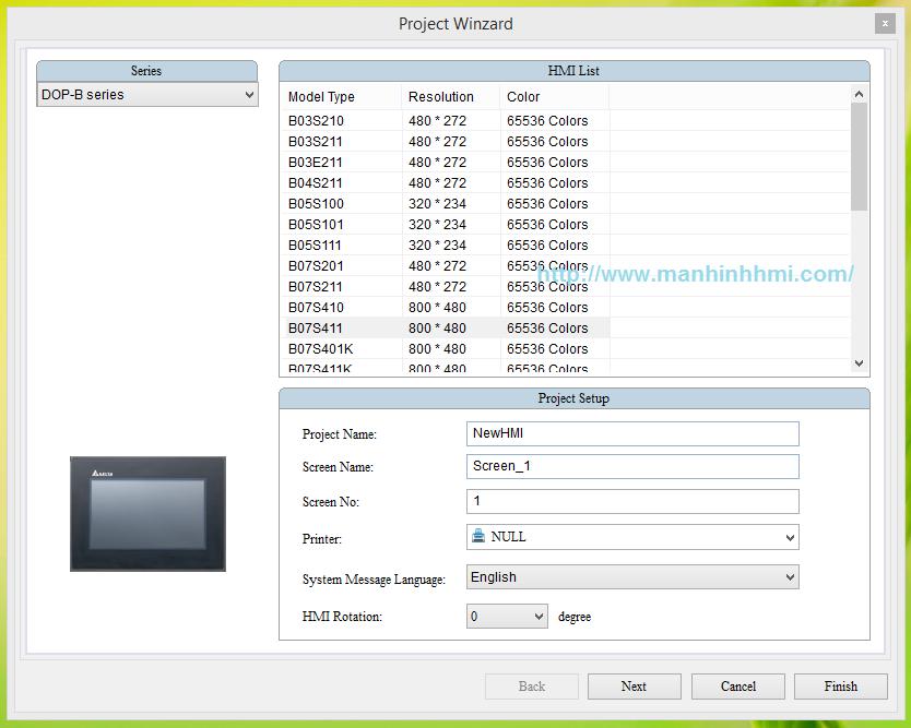 Khởi tạo file thiết kế mới cho màn hình DOP-B07S411 bằng phần mềm DOPSoft 2.00.04, ứng dụng lập trình HMI Delta kết nối S7-200