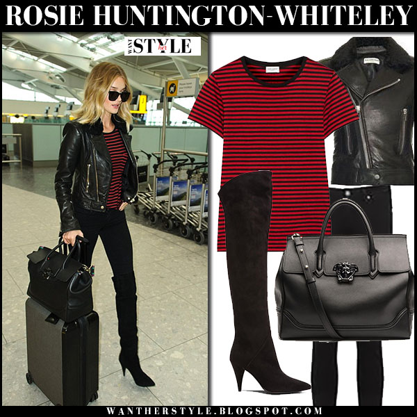 Rosie Huntington-Whiteley in red stripe saint laurent t-shirt, black leather balenciaga jacket and black suede saint laurent boots what she wore models off duty