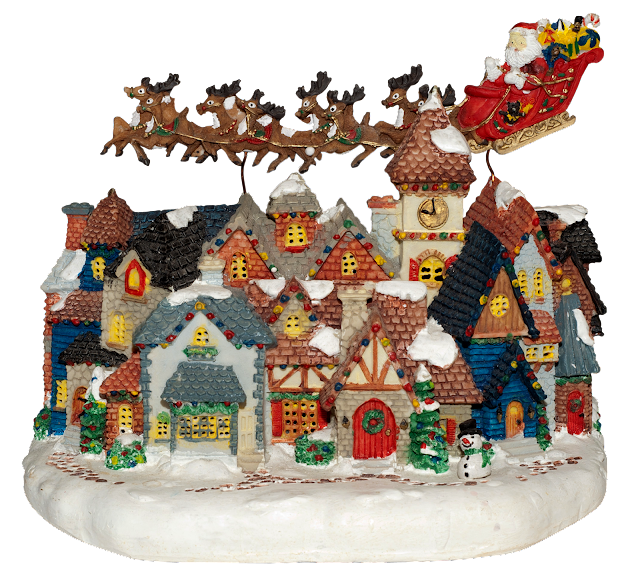 A resin village/town with tiny houses that light up when turned on. Hovering over top is Santa and his reindeer with a sleight full of toys.