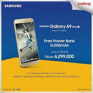 Erafone Promo Samsung A9 Pro Bonus Power Bank 12.000 mAh