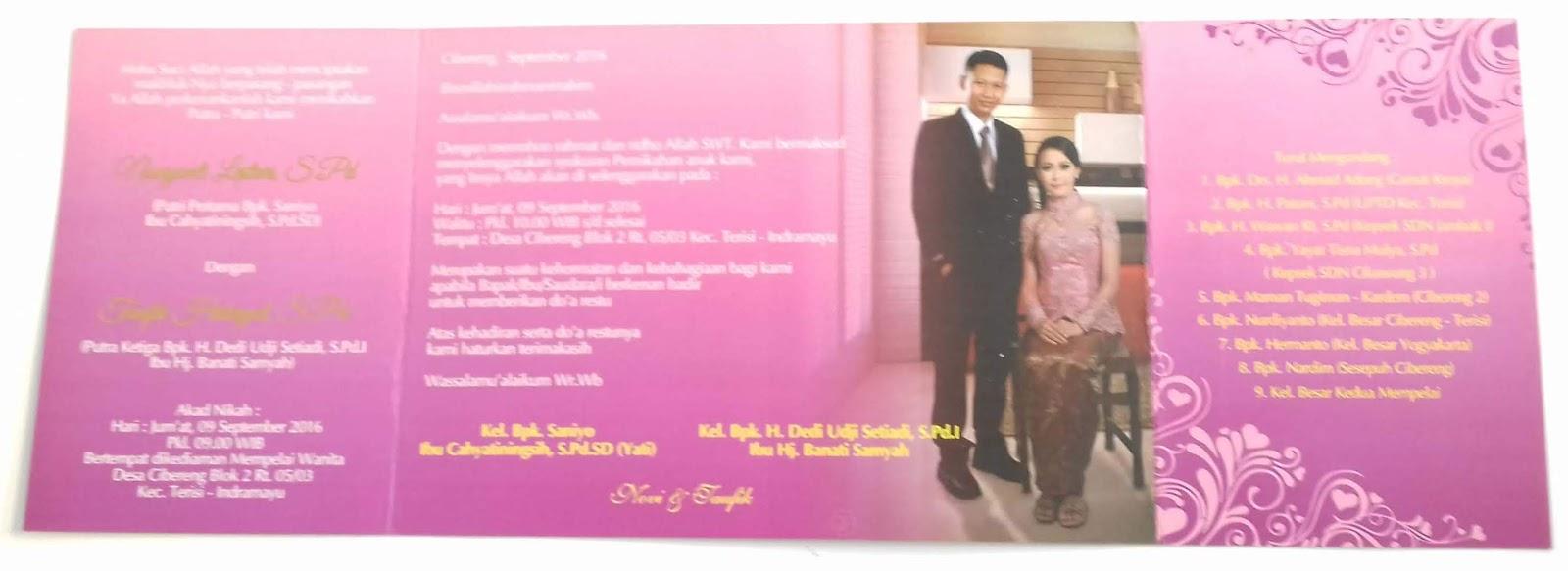 Contoh Undangan Pernikahan Berwarna Atau Sparasi Alfi Percetakan Umahkertas Kuning Pink Dalem