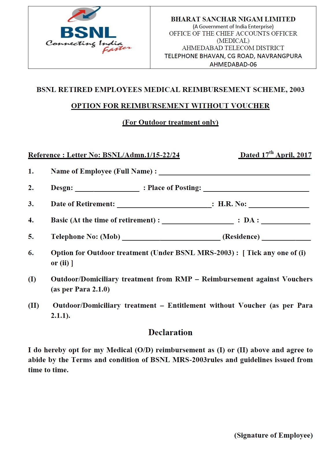 Bsnl pensioners medical reimbursement without voucher facility bsnl option form for reimbursement without voucher spiritdancerdesigns