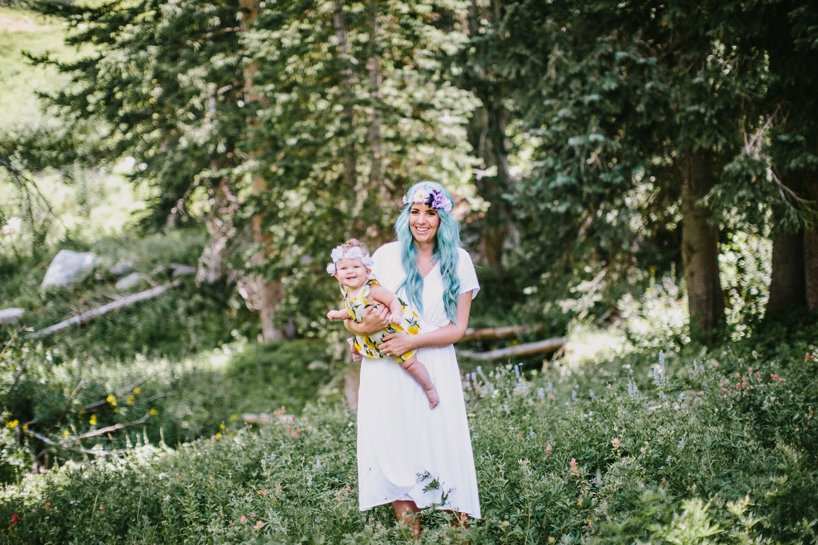 Blue Hair, Mommy and Me Photoshoot, Floral Crown