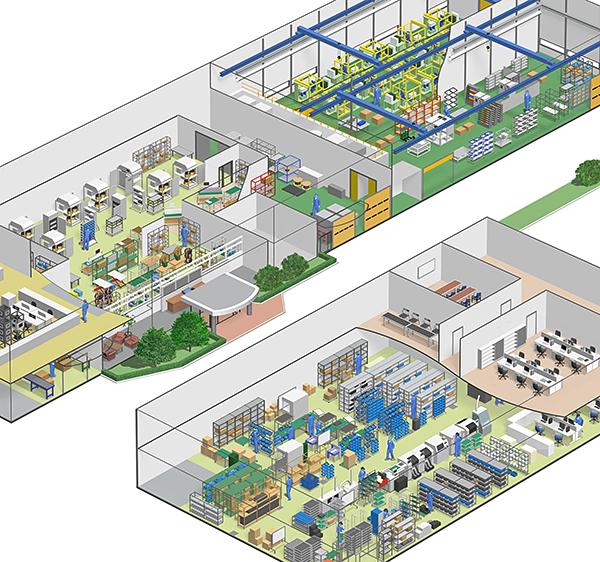 3DCGイラスト、リアルイラスト、生産ライン、工場ライン、ロボット、アームロボット、電機会社、製造工程、機械建物,イラストレーター検索、イラストレーター一覧、イラスト制作,丸子 博史