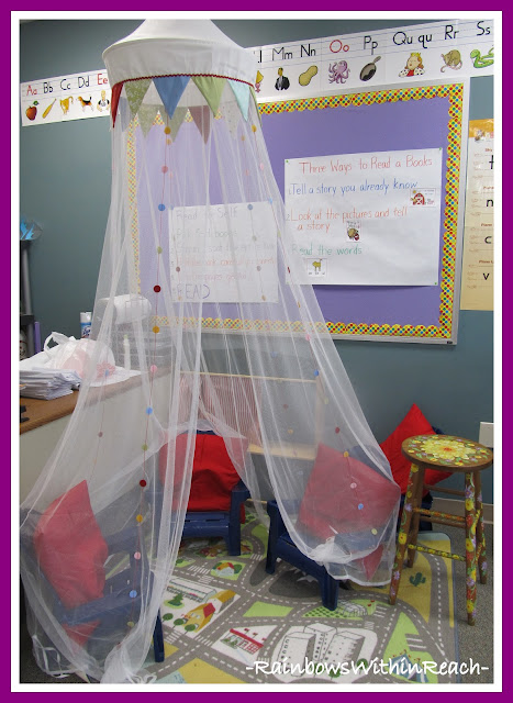 photo of: Canopy Reading Center in Kindergarten via Reading Corner RoundUP at RainbowsWithinReach