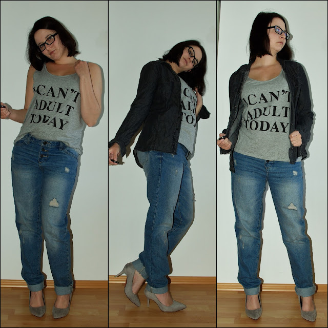 [Fashion] I Can´t Adult Today Shirt, Boyfriend Jeans & Lederjacke