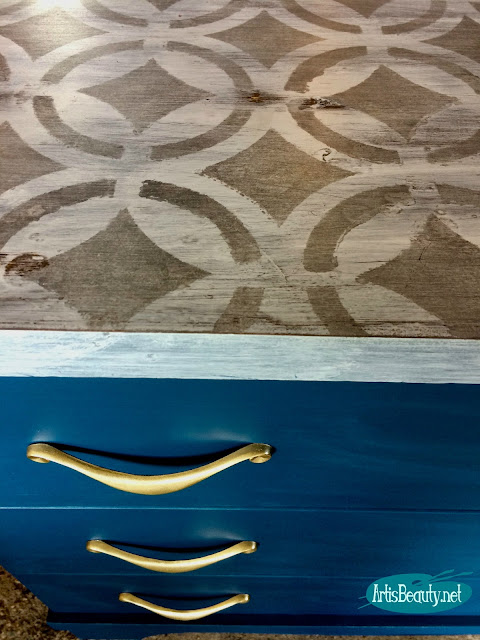 steel handsome blue dresser makeover with geometric stenciled gray top and brass hardware accent