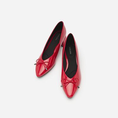 Giày Búp Bê Mũi Nhọn Đính Nơ - BMN 0351 - Màu Đỏ