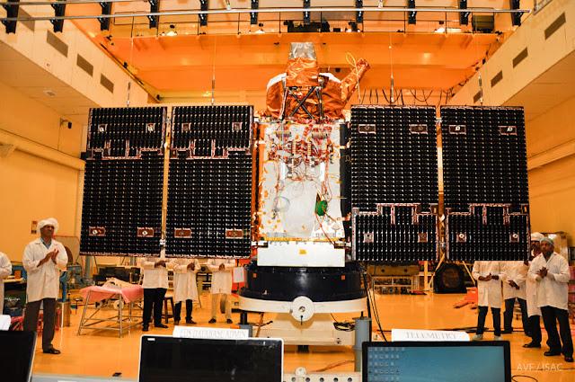 Image Attribute:  Cartosat-2 Series Satellite undergoing Panel Deployment Test / Source: ISRO