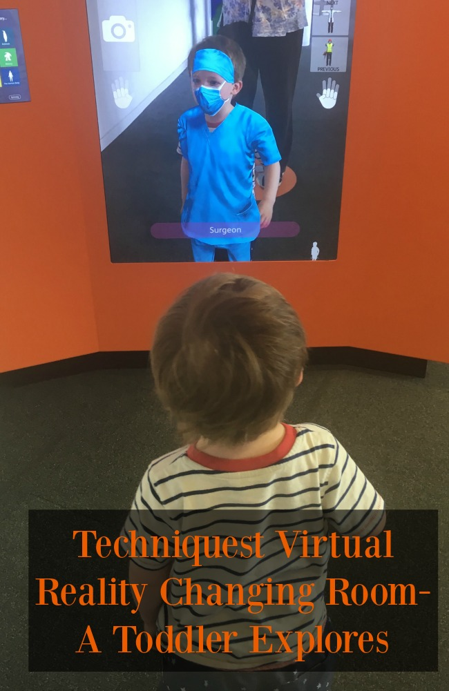 Techniquest-Virtual-Reality-changing-room-a-toddler-explores-text-over-image-of-toddler-in-front-of-VR-Exhibit