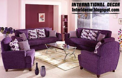 Living Room Decoration With Purple Furniture Sofas And Chairs
