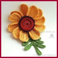 Flor amarilla a crochet