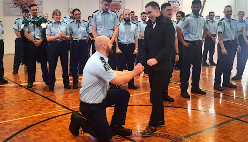 Constable Erik Meechan proposes moments after graduating from police college