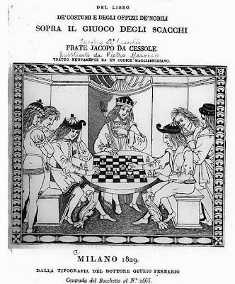 Portada de la edición italiana del libro De les costums dels homes i oficis dels noble