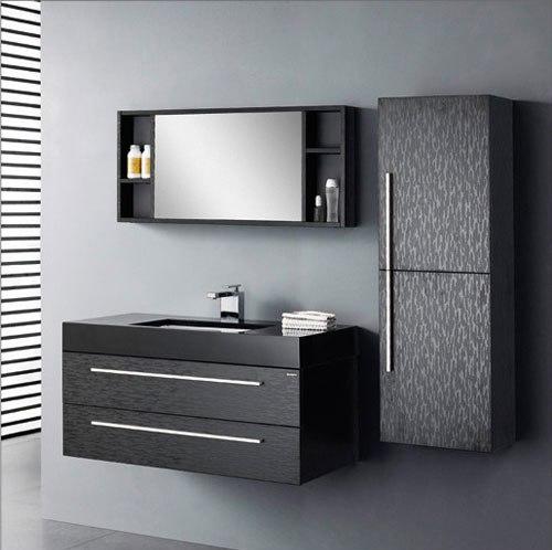 Mobile bagno sospeso con lavabo nero mod piemonte box for Mobili neri