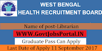 West Bengal Health Board Recruitment 2017– 63 Librarian