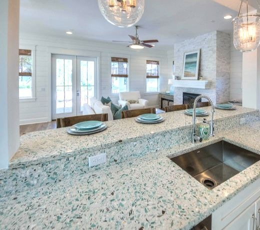 Recycled Sea Glass Style Countertop Ideas For Kitchen Bath Vanity By Vetrazzo Coastal Decor Ideas Interior Design Diy Shopping