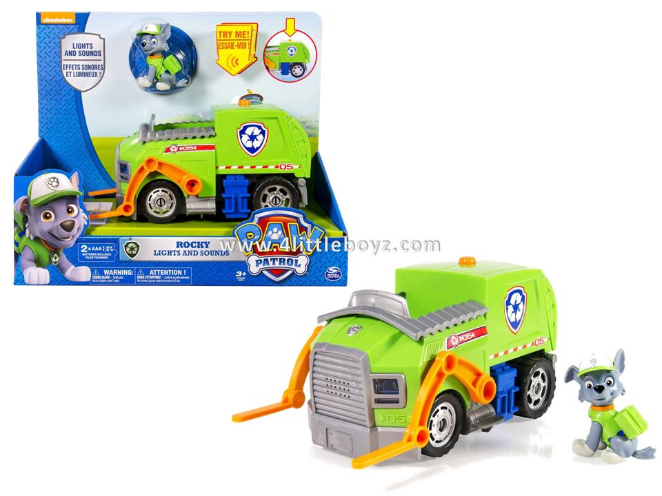 paw patrol rocky s lights and sounds recycling truck