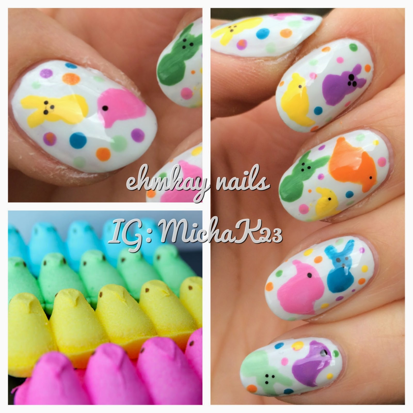 Ehmkay Nails Shy Bunny Easter Nail Art: Ehmkay Nails: Peeps Marshmallow Nail Art