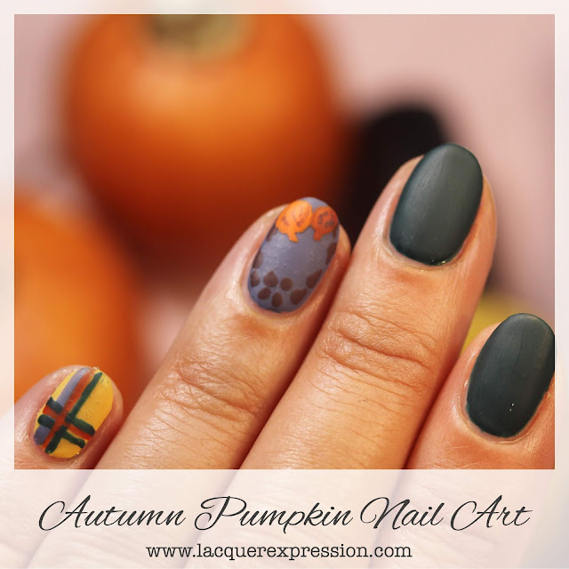 Autumn fall pumpkin free-hand nail art featuring autumnal colors, pumpkins, and plaid