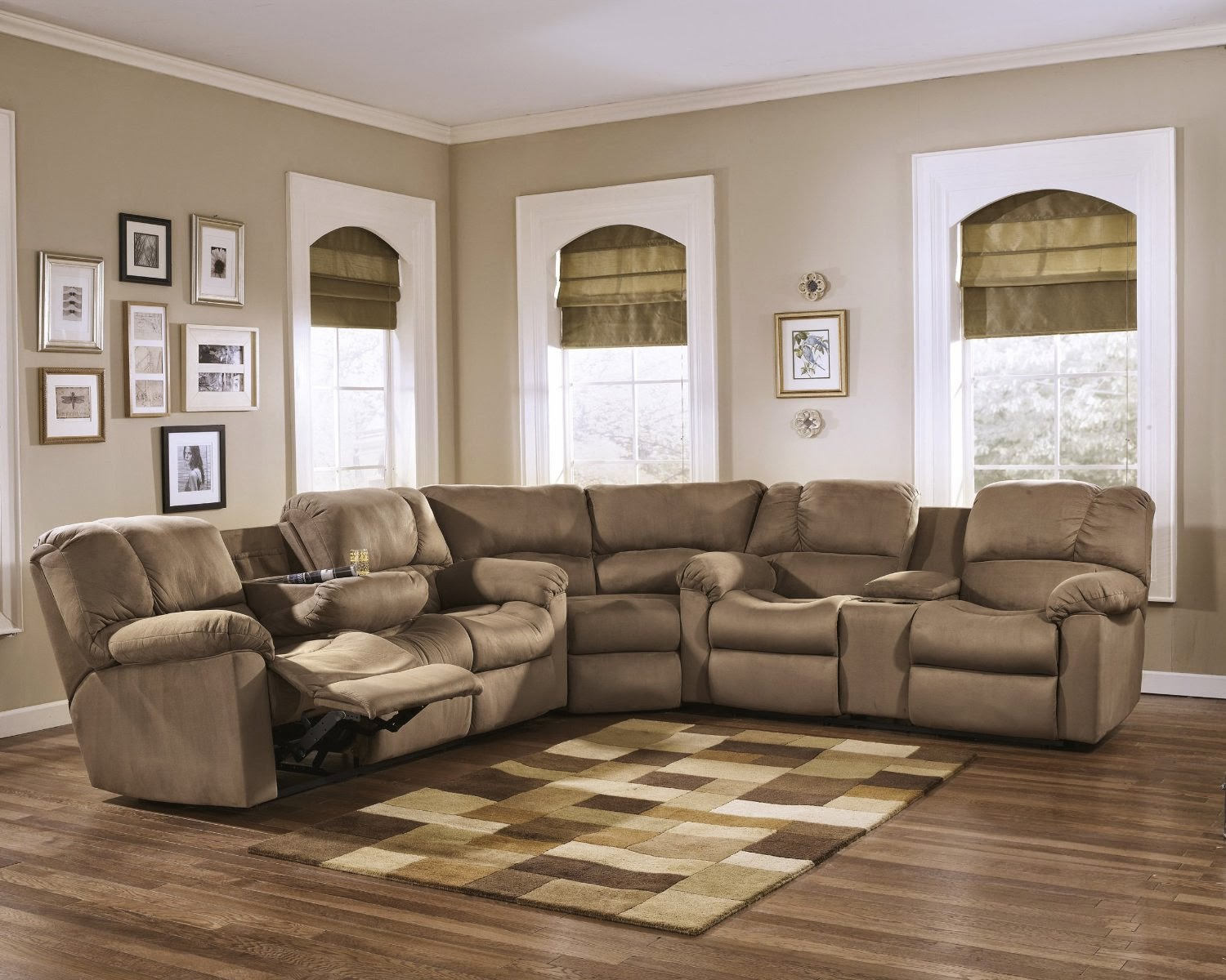 fabric sectional sofa with recliner how can i make my sleeper more comfortable best leather reclining brands reviews
