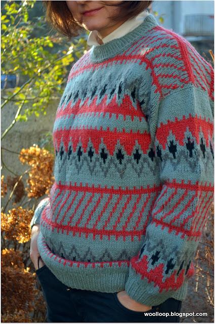 żakardowy sweter szetland
