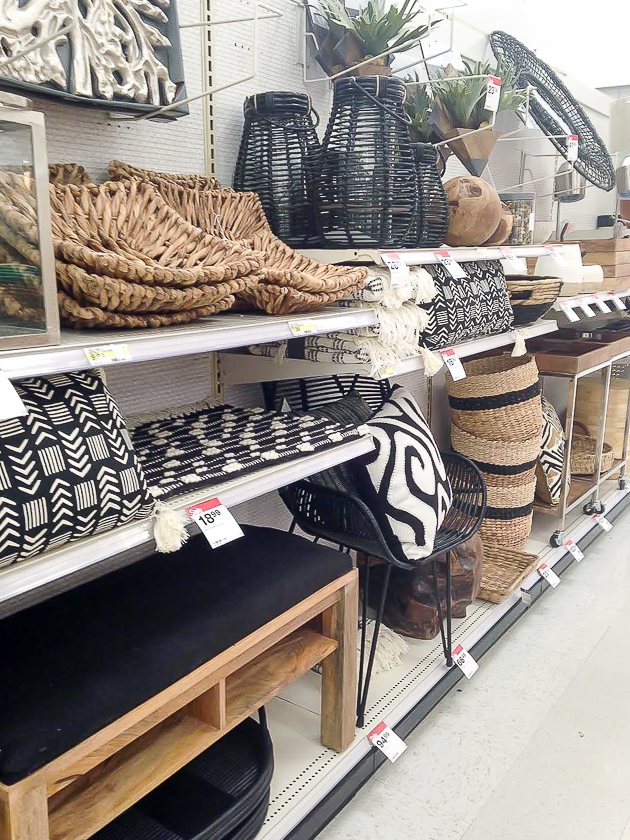 black, white and wicker home decor