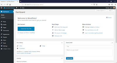 Tampilan dashboard wordpress