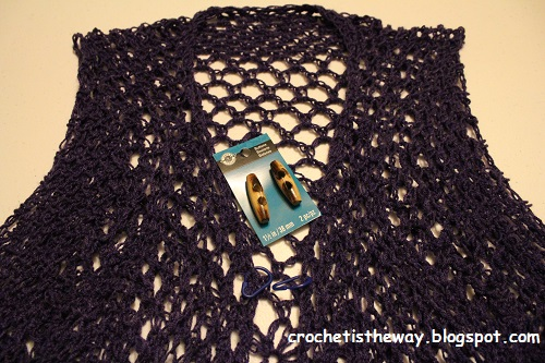 crochet, sewing, toggle, button, how to, tutorial, attach a button, lace, vest