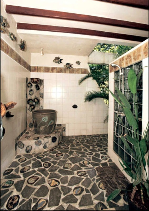 The Bathroom Walls Are Made Of Ceramic Wall Is Decorated With Natural Stone Decoration Plants And Floors Very Elegant