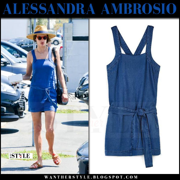 Alessandra Ambrosio in denim mini dress paige winnie what she wore june 17 2017