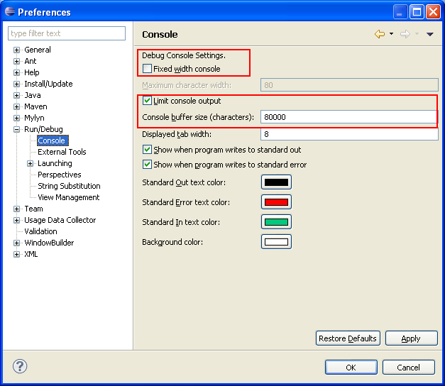 How to Increase Console Buffer Size in Eclipse IDE - Output