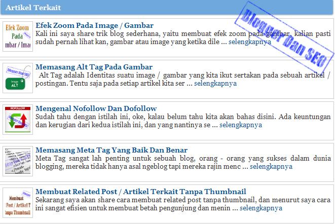 Cara Membuat Related Post/Artikel Terkait Dengan Gambar ...