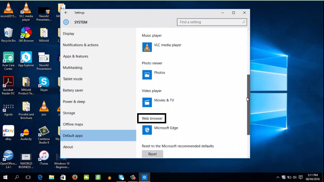 how to change your default browser in windows 7