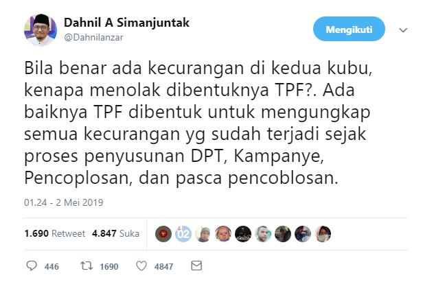 kenapa menolak dibentuknya TPF