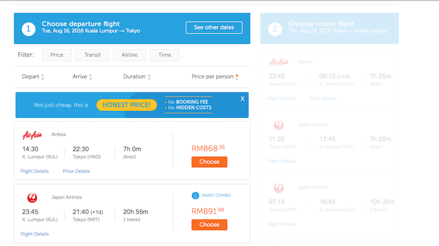 Choose your preferred flight/hotel from the search results by clicking 'Book Now'