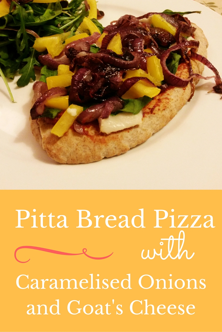 Pitta Bread Pizza with Goat's Cheese and Caramelised Onions