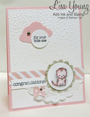 Stampin' Up! Made with Love stamp set. Pink baby card with kitten. Handmade card by Lisa Young, Add Ink and Stamp